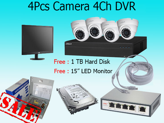 4 High Resolution Cameras with Monitor and Cloud Based Monitoring System